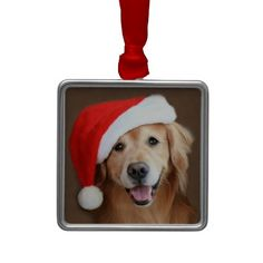 Golden Retriever With Santa Hat Ornament. #christmas #ornament #dog #goldenretriever  #christmasornament #santahat