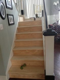 Classic Style Home: DIY Wood Stairs using shims to even out the steps & smaller planks to cover the stairs