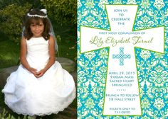 Custom First Holy Communion Invitation    Damask by SaltySmiles