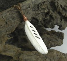 Carved Feather Necklace / Rustic Carved Bone and Copper Bohemian Necklace