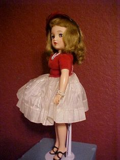 "18"" Ideal Vinyl Miss Revlon In original dress and pearls, circa 1950's"