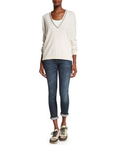 Monili-Trim V-Neck Cashmere Sweater & Mid-Rise Exposed-Fly Cropped Jeans by Brunello Cucinelli at Neiman Marcus.