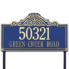 """Villa Nova Standard Lawn Plaque - Green with Gold Type - Frontgate by Frontgate. $119.00. 16-1/2""""L x 9-1/2""""H, 3 lbs. 3"""" characters on first line. 1-1/4"""" characters on second line. Commercial Signs, Sun Power, Garden Plaques, Whitehall Products, Meet Locals, Lawn Sign, Address Plaque, Rust Free, Color Changing Led"""