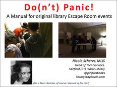 It's here! Follow the link to a ludicrously detailed manual for staging an Escape Room (or Locked Room/Puzzle Room/Mystery Room) at your library. Live-action gaming events like this are daunt…