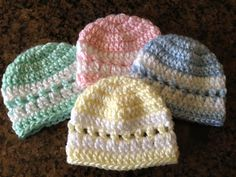 Quick Color-Band Preemie Beanie Free (to a good home.) By Margaret Olander   Materials: 3.75mm (F) or 4.0mm (G) crochet hook 2 colors of worsted weight (or I used 2 strands of DK in the exampl...