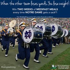 Do you have the luck of the fighting Irish? If so, you could bag two weeks of Medifast food when Notre Dame gets a sack. Throughout the football season, each Notre Dame sack will prompt another two...
