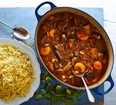 Persian Lamb Tagine Recipe - BBC Good Food - This warming stew is spiced with cinnamon and cumin, and sweetened with apricots and dates - perfect with fluffy couscous Lamb Tagine Recipe, Tagine Recipes, Lamb Recipes, Slow Cooker Recipes, Cooking Recipes, Gourmet Recipes, Lamb Dishes, Eastern Cuisine, Bbc Good Food Recipes