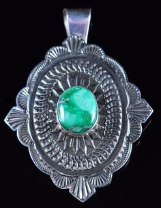 This is a sterling silver pendant, with natural gem grade Damale Variscite. The stone is a beautiful green color with a hint of a brown matrix, it is set in a smooth bezel. Handmade by Navajo silversmith Sunshine Reeves. | eBay!