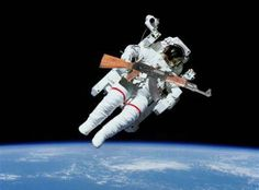 Fires can't burn in the oxygen-free vacuum of space, but guns can shoot.
