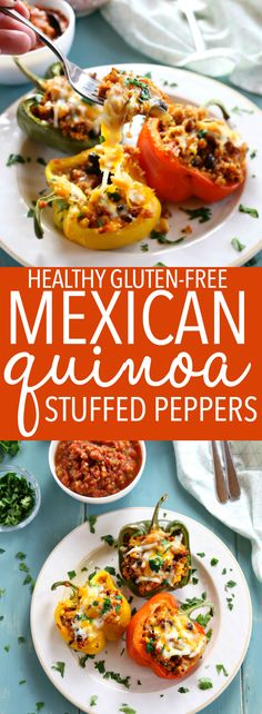 These Mexican-Style Quinoa Stuffed Peppers are the perfect healthy family meal that's naturally gluten-free! These stuffed peppers are bursting with Mexican flavours and packed with veggies and fibre and topped with cheese for a wholesome meal the whole f Mexican Stuffed Peppers, Quinoa Stuffed Peppers, Mexican Food Recipes, Vegetarian Recipes, Healthy Recipes, Drink Recipes, Free Recipes, Quesadillas, Enchiladas