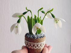 Купить Весенние цветы Подснежник Композиция интерьерная (холодный фарфор) - подснежники, подснежник