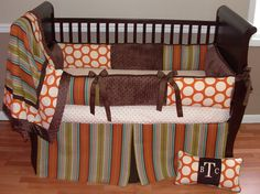 Jack Baby Bedding  This custom baby bedding set includes bumper, soft minky blanket and box pleat crib skirt.  The colors are georgeous orange, cream, chocolate, avocado green, and teal.