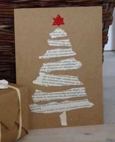 Easy DIY Holiday Crafts - Old Hymnal Tree - Click pic last . - Easy DIY Holiday Crafts – Old Hymnal Tree – Click pic for 25 Handmade Christmas Cards Ideas for - Christmas Card Crafts, Homemade Christmas Cards, Christmas Gift Wrapping, Christmas Projects, Holiday Crafts, Christmas Ornaments, Ornaments Ideas, Christmas Cards Handmade Kids, Holiday Pics