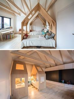 This kids bedroom has each bed enclosed within its own little house. This kids bedroom has each bed enclosed within its own little house. Kids Bedroom Designs, Kids Room Design, Home Design, Design Ideas, Interior Design, Cool Kids Rooms, Kids Bedroom Furniture, Kid Spaces, Space Kids