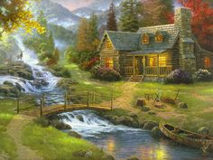 Cottage. - bridge, cottage, house, painting, river, tree, waterfall