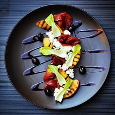 Beautiful plate by @pmroz74 : Peach, bresaola, ricotta, bok choy, shallot #plating #presentation via @fancyfoodjour @pmroz74 on Instagram