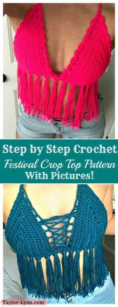 Free Step by Step Festival Crop Top Pattern Crochet Halter Tops, Tops Tejidos A Crochet, Motif Bikini Crochet, Crochet Summer Tops, Diy Crochet Halter Top, Crotchet Crop Top, Diy Halter Top, T-shirt Au Crochet, Mode Crochet