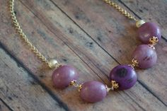 Jarina  Tagua  Necklace with golden chain nickel by ColorsofBrazil, $35.00