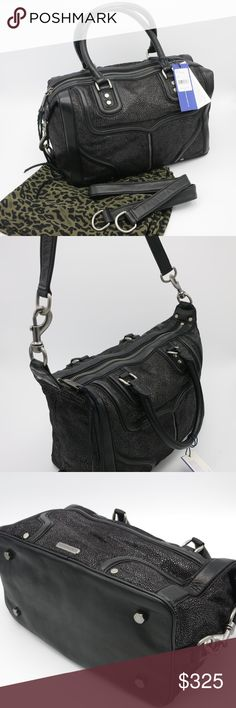 """REBECCA MINKOFF 'Mab Mini Bombe' Leather Satchel PRISTINE condition 👜, LIKE NEW‼️ Rebecca Minkoff Leather stingray embossed satchel.  Original dust bag, tags, even plastic bag it shipped in.  Worn just once, too large for my style.  Has detachable shoulder strap, see 2nd pic.  Perfect handbag for the Fall/Winter season!   Type of Material: Leather Color: Black Hardware: Antique Silver Closure: Zipper Width 13.0"""" Height 9.5"""" Depth 6.5"""" Handle Drop 6.0""""  🚫 Trades or Holds 🚫 🅿️🅿️ 🚫 Low ⚽️…"""