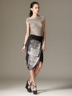 Mesh Print Draped Skirt by Helmut Lang on Gilt.com