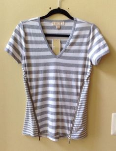 NWT MICHAEL KORS WOMEN'S STRIPED COTTON/SPDX SHORT SLEEVE BLOUSE SIZE S-$79.50 #MichaelKors #Blouse