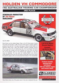 Pre Order scale Peter Brock HDT Holden VH Commodore place 1983 Australian Touring Car C. Aussie Muscle Cars, The Championship, Scale Models, Touring, Bobs, Authenticity, Certificate, Classic, Engine