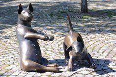 Bull terriers by Swedish sculptor, Sonja Petterson in city of Enköping.