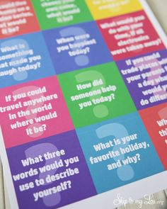 Free printable conversation starter questions. Fun idea for dinner or even a party #print  www.skiptomylou.org