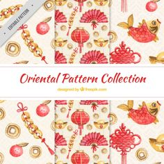 Oriental patterns with decorative elements Free Vector