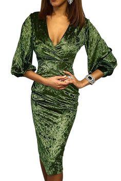 Dear Lover 2019 Green Glistening V Neck Warp Velvet Midi Women Dress Vintage Formal Dress Sexy Bodycon Vestido de Festa Fall Dresses, Sexy Dresses, Evening Dresses, Party Dresses, Midi Dresses, Club Dresses, Fashion Dresses, Velvet Midi Dress, Green Midi Dress