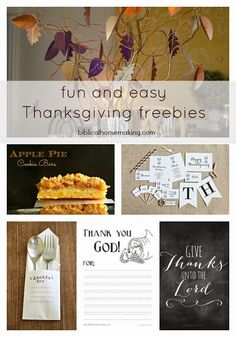 Biblical Homemaking: my favorite thanksgiving freebies this year + one yummy recipe