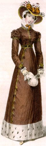 Promenade dress, 1824. This pelisse is of couleur d'oreille d'ours or a rich brown. The pelisse is trimmed with a deep band of ermine at the hem. The small purse is in the shape of a shell.