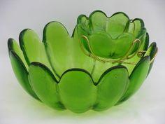 Mod lime green glass flower shape serving bowls, vintage chip and dip set