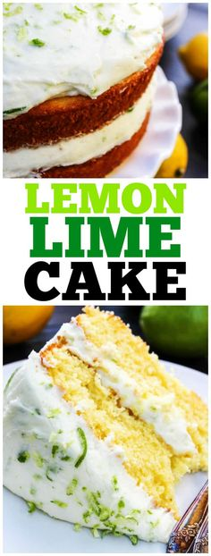 This LEMON LIME LAYER CAKE is just perfect for spring and summer. This gorgeous cake has layers of lemon cake frosted with a lime buttercream. #lime #lemon #cake