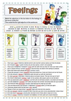 One-click print documentinside out feelingsfeelings and emotions MaisTwo vocabulary exercises to introduce some adjectives divided into five categories according to the five feelings shown in the movieinside out worksheets for therapy Emotions Activities, Counseling Activities, Therapy Activities, Play Therapy, Teaching Emotions, Family Therapy, Therapy Tools, Social Activities, Therapy Ideas