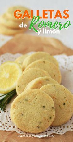 Galletas de mantequilla con romero y limón, aromáticas y crujientes, con sólo 5 ingredientes. Receta con fotos paso a paso y para imprimir. Gooey Cookies, Brownie Cookies, No Bake Cookies, Cake Cookies, Cupcakes, Cookie Recipes, Dessert Recipes, Desserts, Party Entrees