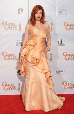 Christina Hendricks Channeling ruffles in Golden Globe 2010.