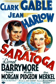 Jean Harlow and Clark Gable in SARATOGA (1937). Saratoga was the highest grossing film of 1937. Harlow died during filming at the age of 26.
