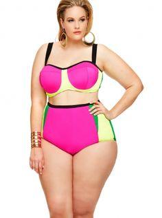 Sexy Plus Size Swimwear, Plus Size High Waisted Bikini - Monif C