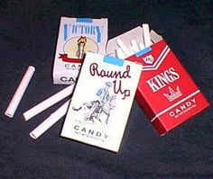 Candy cigarettes. I can still remember the taste...sugar