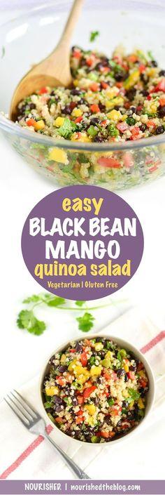 Easy Black Bean Mango Quinoa Salad | recipe | gluten free, vegan | quinoa salad with zesty lime dressing | easy quinoa recipe |