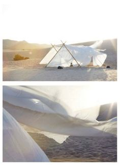 Tents blowing in the wind.