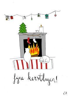 Kerstkaart open haard // fireplace - Lot Bouwes / / Lot Bo