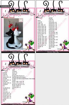 19 Ideas For Crochet Patterns Amigurumi - Diy Crafts - DIY & Crafts Crochet Amigurumi Free Patterns, Crochet Animal Patterns, Crochet Bear, Crochet Doll Pattern, Cat Pattern, Cute Crochet, Crochet Dolls, How To Start Knitting, Amigurumi Doll