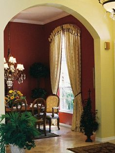 Red Dining Room Curtains drew plantation southern home | foyers, room and house