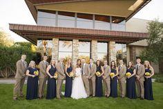 Trilogy at Vistancia Wedding   Navy floor length long bridesmaids dresses and tan suits with navy ties for the groomsmen   www.weddingsatvistancia.com   Drew Brashler Photography