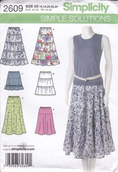 New Sewing Pattern Simplicity Pattern 2609 Skirts 6 Styles Tiered Misses Women Size 16 18 20 22 24 Bust 38 40 42 44 46 uncut 2009 by LanetzLiving on Etsy Skirt Patterns Sewing, Simplicity Sewing Patterns, Pattern Grading, Sew Pattern, Mature Women Fashion, Textiles, Yellow Fabric, Learn To Sew, Retro Fashion