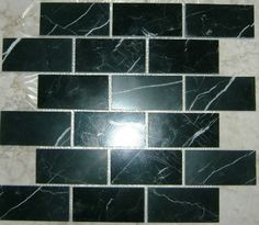 """NEGRO MARQUINA MARBLE MOSAIC 2X4"""" SUBWAY STYLE...  $8.95/SF,   C-Line Marble & Granite, Inc.  2100 Jericho Tpke  New Hyde Park, NY 11040  516-742-8886 phone    www.CLineMarbleAndGraniteInc.com  or follow us on...  www.facebook.com/ClineStoneandTile   or  pinterest.com/clinestone/c-line-stone-s-in-stock-product-at-warehouse-price/"""