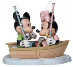 """Mickey and Minnie don't need any bait - they've already hooked each other. """"HOOKED ON YOU"""" - MICKEY & MINNIE MOUSE FISHING DISNEY FIGURINE Mickey Mouse Figurines, Disney Figurines, Disney Precious Moments, Precious Moments Figurines, Disney Mickey Mouse, Walt Disney, Another A, Just Because Gifts, Toy Chest"""