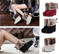 Wish | Winter Warm Fur Womens Ankle Boots Lady Increased Shoes Wedge Christmas Snow Boot